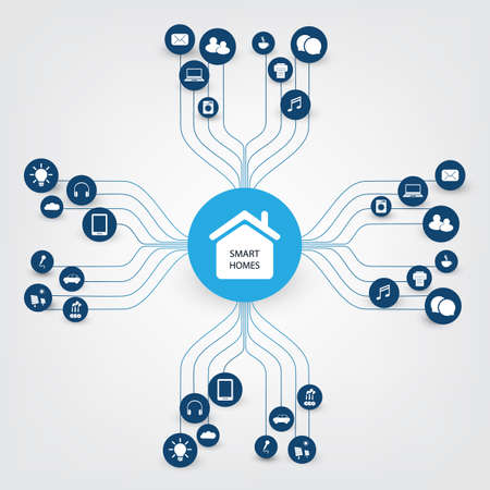 Smart Home Design Concept with Icons - Digital Network Connections, Technology Background 일러스트