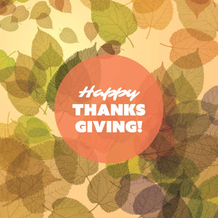 fallen: Happy Thanksgiving Card Design Template with Scattered Fallen Autumn Leaves, Round Transparent Label