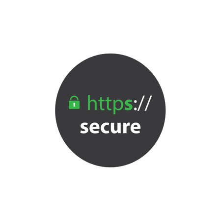 https: HTTPS Protocol - Safe and Secure Label Illustration
