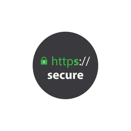 secure site: HTTPS Protocol - Safe and Secure Label Illustration