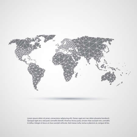 digital world: Cloud Computing and Networks, Technology Concept with World Map - Abstract Global Digital Network Connections, Creative Design Template with Wire Mesh Illustration
