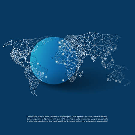 digital world: Cloud Computing and Networks with World Map - Abstract Global Digital Network Connections, Technology Concept Background, Creative Design Element Template Illustration