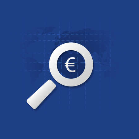 findings: Business Analysis, Audit or Financial Report Icon, Findings Symbol with Euro Sign and Magnifier Illustration