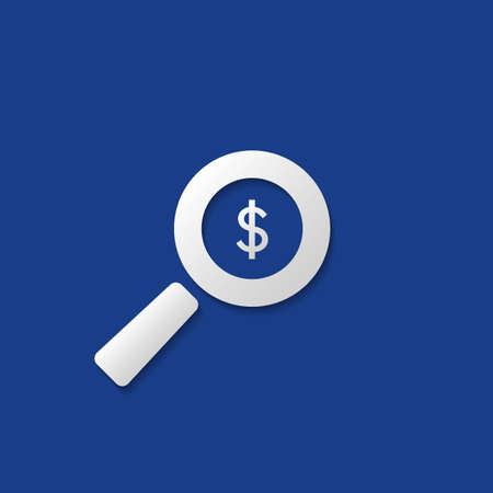 Business Analysis, Audit Icon, Financial Findings Symbol with Dollar Sign and Magnifying Glass Illustration