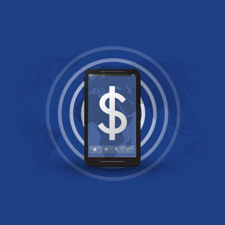 appearing: Online Payment or Earnings Concept, Message Indicator with Dollar Sign Appearing in the Screen of a Mobile Device