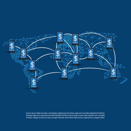 global design: Global Online Payment Systems, Mobile Banking Concept, Worldwide Transactions, Connections and Networks, Vector Design