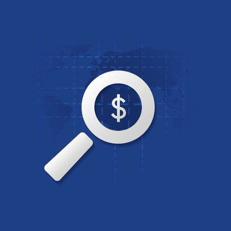 financial symbol: Business Analysis, Audit or Financial Report Icon, Findings Symbol with Dollar Sign and Magnifying Glass Illustration