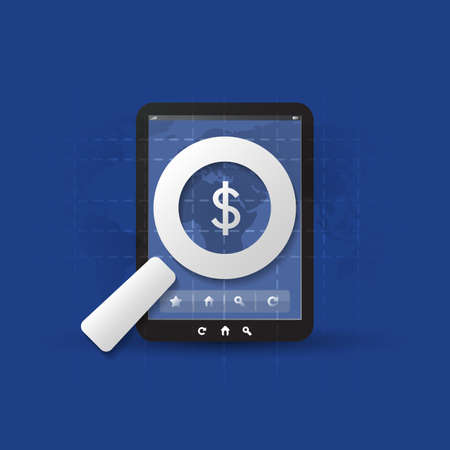 Business Analysis, Audit or Financial Report Concept, Findings with Dollar Sign, Mobile Device and Magnifier