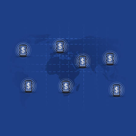 transactions: Global Online Mobile Payment Systems Concept, Worldwide Transactions, Connections and Networks, Vector Design Illustration