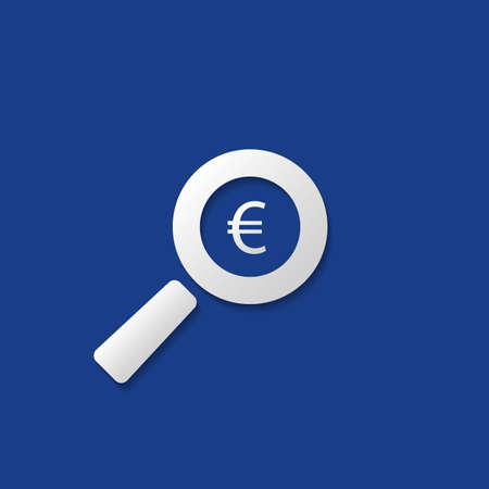 financial symbol: Business Analysis, Audit or Financial Report Icon, Findings Symbol with Euro Sign and Magnifier Illustration