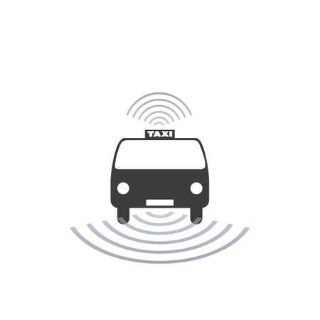 allocation: Self-Driving Taxi Design Concept For Logo, Mobile Application UI, Ordering Service - Vector Illustration Illustration