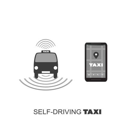ordering: Self-Driving Taxi Design Concept For Logo, Mobile Application UI, Ordering Service