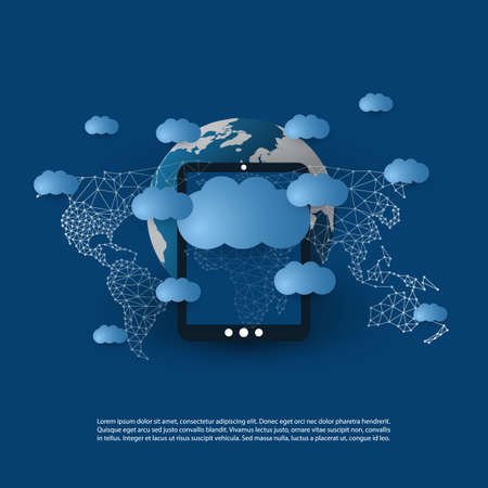 Abstract Cloud Computing and Global Network Connections Concept Design with Earth Globe, Digital Tablet, Wireless Mobile Device, Transparent Geometric Mesh Illustration