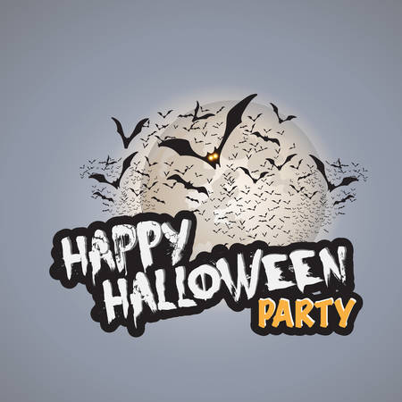 flying bats: Happy Halloween Party Card Template - Flying Bats with Glowing Eyes Illustration