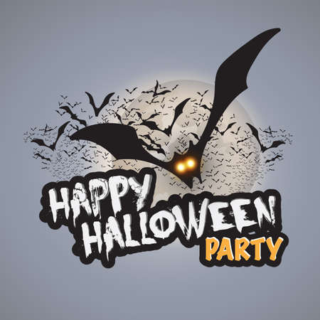 Happy Halloween Party Card Template - Flying Bats with Glowing Eyes Illustration
