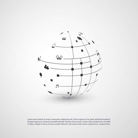 Minimal Cloud Computing, Digital Networks Structure, Telecommunications Concept Design, Modern Style Global Network Connections, Transparent Geometric Globe With Icons