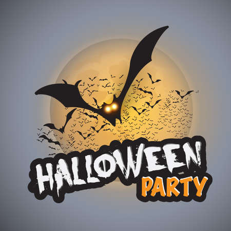 flying bats: Halloween Party Card Template - Flying Bats with Glowing Eyes - Vector Illustration