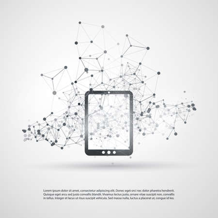 digital tablet: Abstract Cloud Computing and Global Network Connections Concept Design with Digital Tablet, Wireless Mobile Device, Transparent Geometric Mesh