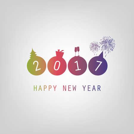 최고의 소원 - 현대 간단한 최소한의 행복 한 새 해 카드 또는 커버 배경 템플릿 - 2017