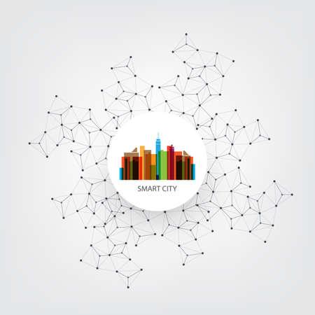 peer to peer: Colorido Smart City Concepto de diseño con los iconos - Conexiones de red digital, fondo de la tecnología Vectores