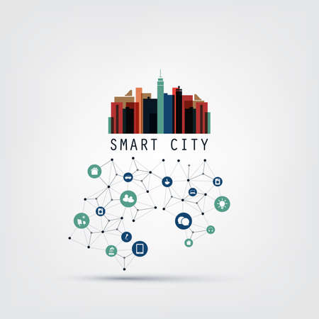 wireframe: Colorful Smart City Design Concept with Icons - Digital Network Connections, Technology Background