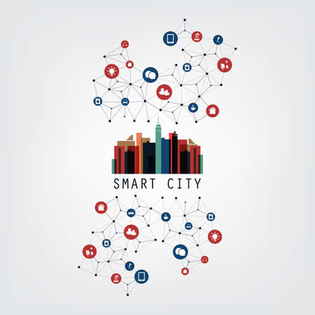Colorful Smart City Design Concept with Icons - Digital Network Connections, Technology Background