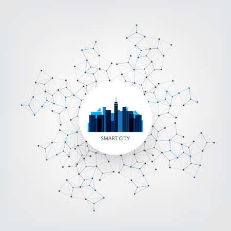 Blue Smart City Design Concept with Icons - Digital Network Connections, Technology Background Ilustração