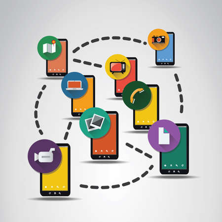 video icons: Digital Network Connections, Technology Background with Icons