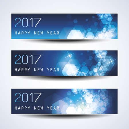 conjunto: Conjunto de azul espumoso horizontal de Navidad, Año Nuevo banners - 2017 Vectores