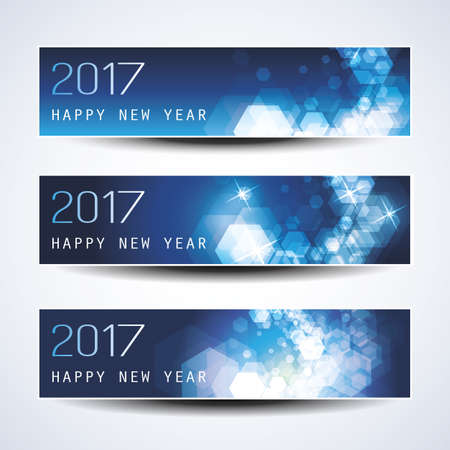 set: Set of Blue Sparkling Horizontal Christmas, New Year Banners - 2017