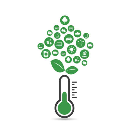 zero emission: Global Warming, Ecological Problems And Solutions - Thermometer Icon Design