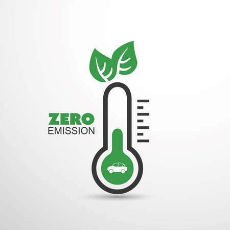 zero emission: Zero Emission - Global Warming, Ecological Problems And Solutions - Thermometer Icon Design Illustration