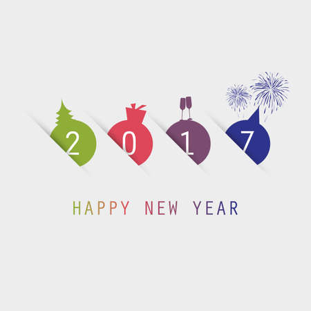 Simple Colorful New Year Card, Cover or Background Design Template - 2017