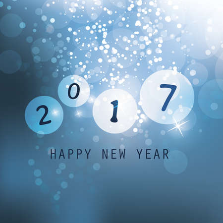 new years resolution: Best Wishes - Blue Abstract Modern Style Happy New Year Greeting Card, Cover or Background, Creative Design Template - 2017 Illustration