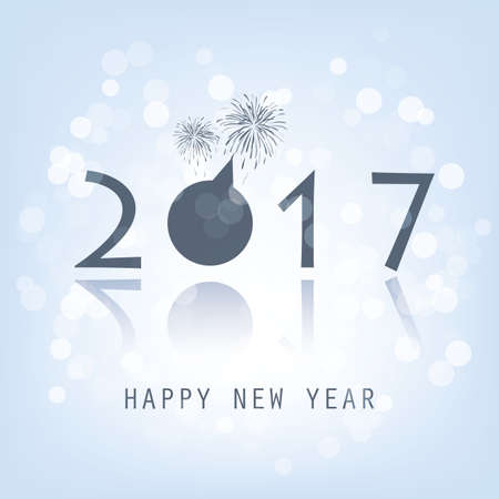 best background: Best Wishes - Blue Abstract Modern Style Happy New Year Greeting Card, Cover or Background, Creative Design Template - 2017 Illustration