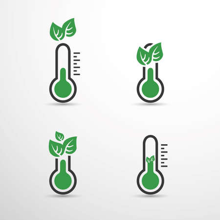 Global Warming, Ecological Problems And Solutions - Thermometer Icon Designs Vektoros illusztráció