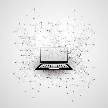 Computación en nube abstracta y conexiones de red globales Concepto de diseño con ordenador portátil, dispositivo móvil inalámbrico, malla geométrica transparente
