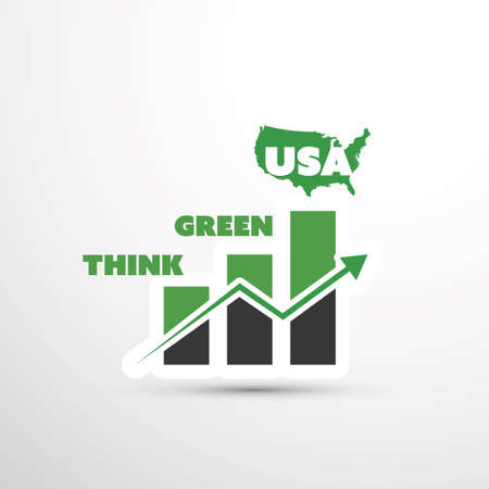 emission: Think Green USA! - Eco Vector Concept Design Illustration