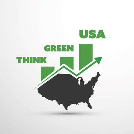 house warming: Think Green USA! - Eco Vector Concept Design Illustration