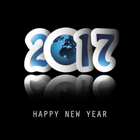worldwide wish: Best Wishes - Celebrate New Year All Around the World - Greeting Card or Background Design - 2017 Illustration