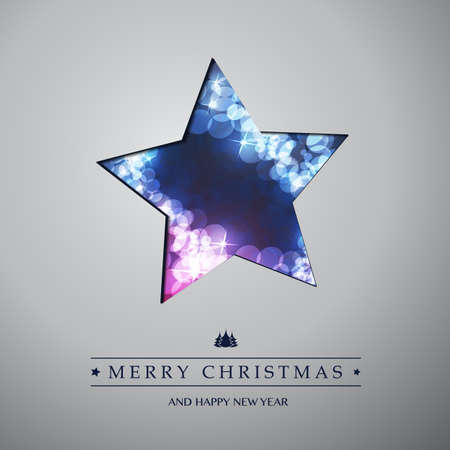 christmas star: Colorful Modern Style Happy Holidays, Merry Christmas Greeting or Gift Card Design with Hand Written Label, Blue Sparkling Star Shaped Blurred Pattern Illustration