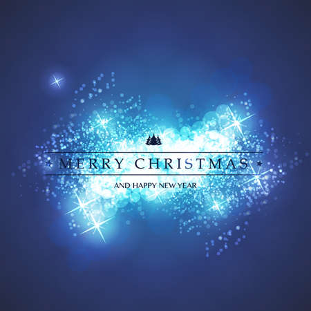 blur: Blue and White Happy Holidays, Merry Christmas Greeting Card With Label on a Sparkling Blurred Background Illustration