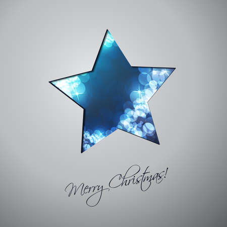 cold cut: Colorful Modern Style Happy Holidays, Merry Christmas Greeting or Gift Card Design with Hand Written Label, Blue Sparkling Star Shaped Blurred Pattern Illustration