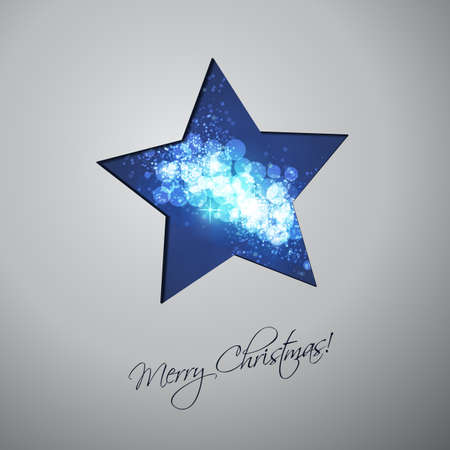 Colorful Modern Style Happy Holidays, Merry Christmas Greeting or Gift Card Design with Hand Written Label, Blue Sparkling Star Shaped Blurred Pattern Illustration