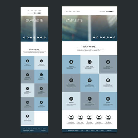 Responsive One Page Website Template with Blurred Background - Skyscrapers Pattern Header Design - Desktop and Mobile Version Illustration