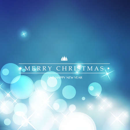 Colorful Happy Holidays, Merry Christmas and New Year Greeting Card With Label on a Sparkling Blurred Background Illustration