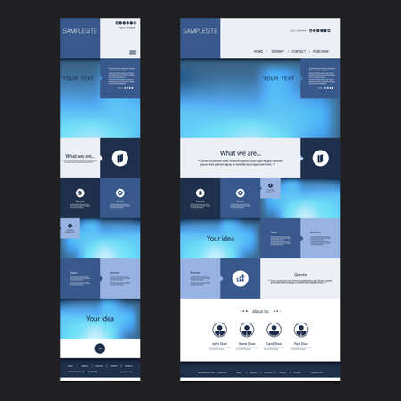 version: Responsive One Page Website Template with Blurred Background - Desktop and Mobile Version Illustration