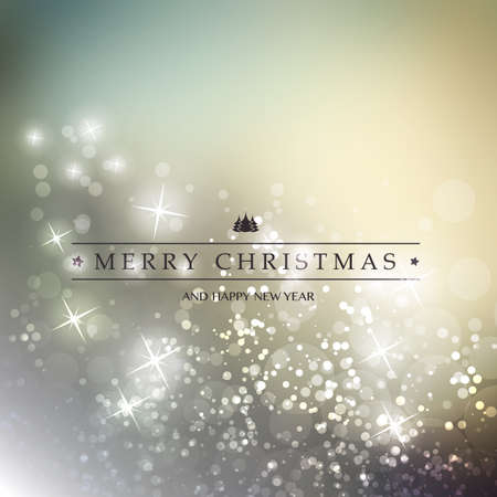 christmas backgrounds: Colorful Happy Holidays, Merry Christmas Greeting Card With Label on a Sparkling Blurred Background Illustration