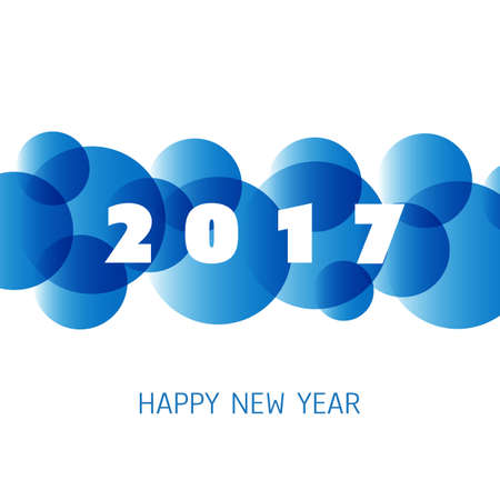 20: Simple Blue and White New Year Card, Cover or Background Design Template - 2017 Illustration