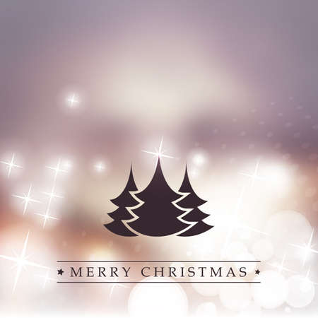 bright christmas tree: Merry Christmas - Purple and Golden Modern Style Happy Holidays Greeting Card with Tree Silhouette on Sparkling Bright Blurred Background